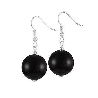 Eternal Collection Brazen Black Mountain Jade Silver Tone Drop Pierced Earrings