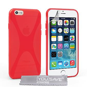 YouSave Accessories iPhone 6 and 6s Silicone Gel XLine Case Red