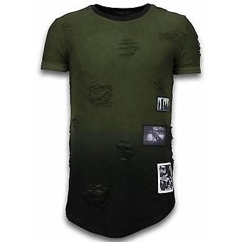 Pictured Flare Effect T-shirt - Long Fit Shirt Dual Colored - Groen