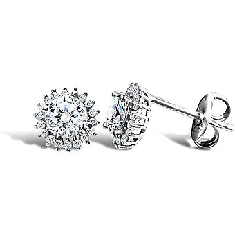 Jewelco London Ladies 9ct White Gold White Round Brilliant Cubic Zirconia Round Cluster Stud Earrings