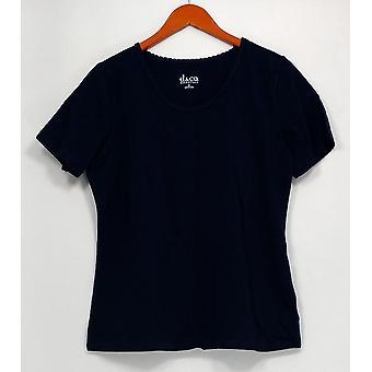 Denim & Co. Top Essentials Scoopneck T-shirt w/ Trim Detail Blue A266434