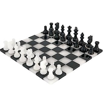 Sort og hvid kant til kant Alabaster Chess Set 14 tommer