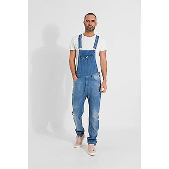 Jesse mens organic denim slim fit dungarees light wash