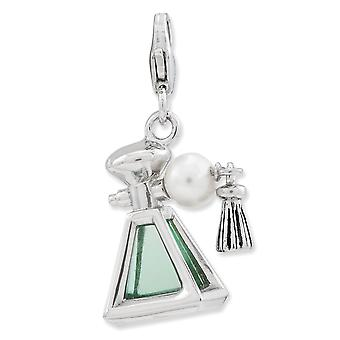 925 Sterling Silver Rhodium plaqué Fancy Lobster Closure 3-d Parfum Freshwater Cultured Pearl Bottle With Lobster Clasp
