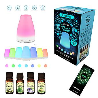 Difusian NUBIS - A Powerful Ultrasonic Aroma Therapy Essential Oil Diffuser with Color Changing LEDs + 4 FREE 10ml Essential Oil Bottles Included (Tea Tree Peppermint Lavender and Eucalyptus) - for Home Yoga Office Spa Bedroom Baby Room Etc.