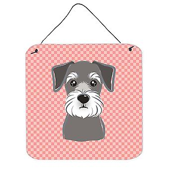 Checkerboard Pink Schnauzer Wall or Door Hanging Prints BB1206DS66