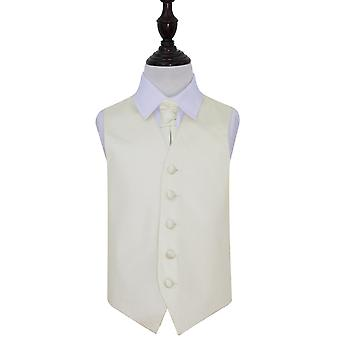Boy's Ivory Plain Satin Wedding Waistcoat & Cravat Set