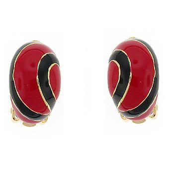 Clip On Earrings Store Red and Black Enamel Lollipop Semi Hoop Clip on Earrings