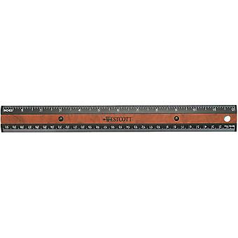 Faux Wood Inlay Ruler 12