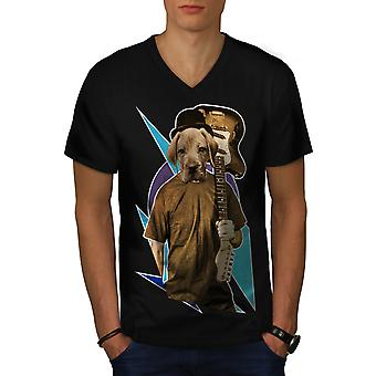 Guitar Labrador Music Dog Men Black V-Neck T-shirt | Wellcoda
