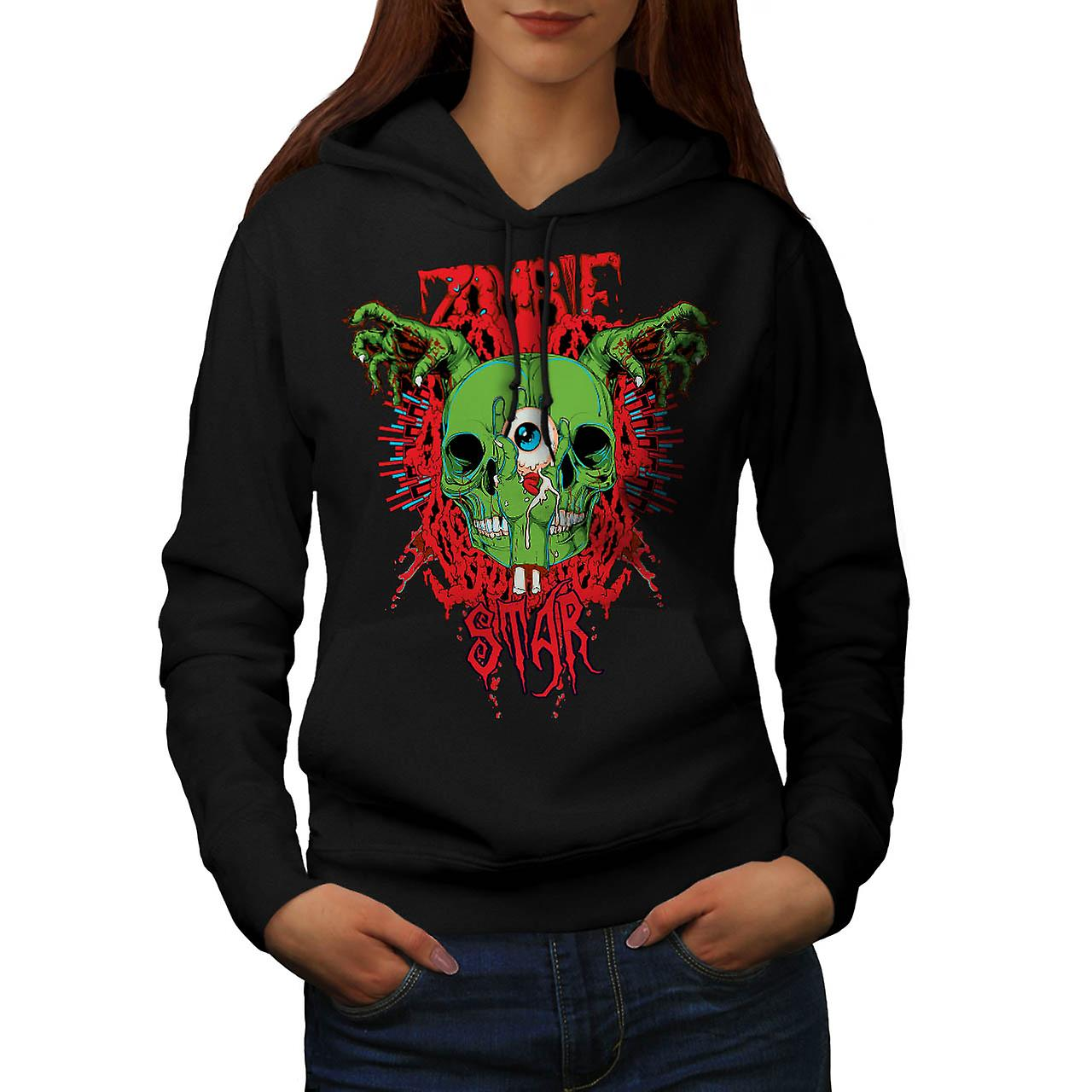 Monster Zombie Evil Star Night Women Black Hoodie | Wellcoda