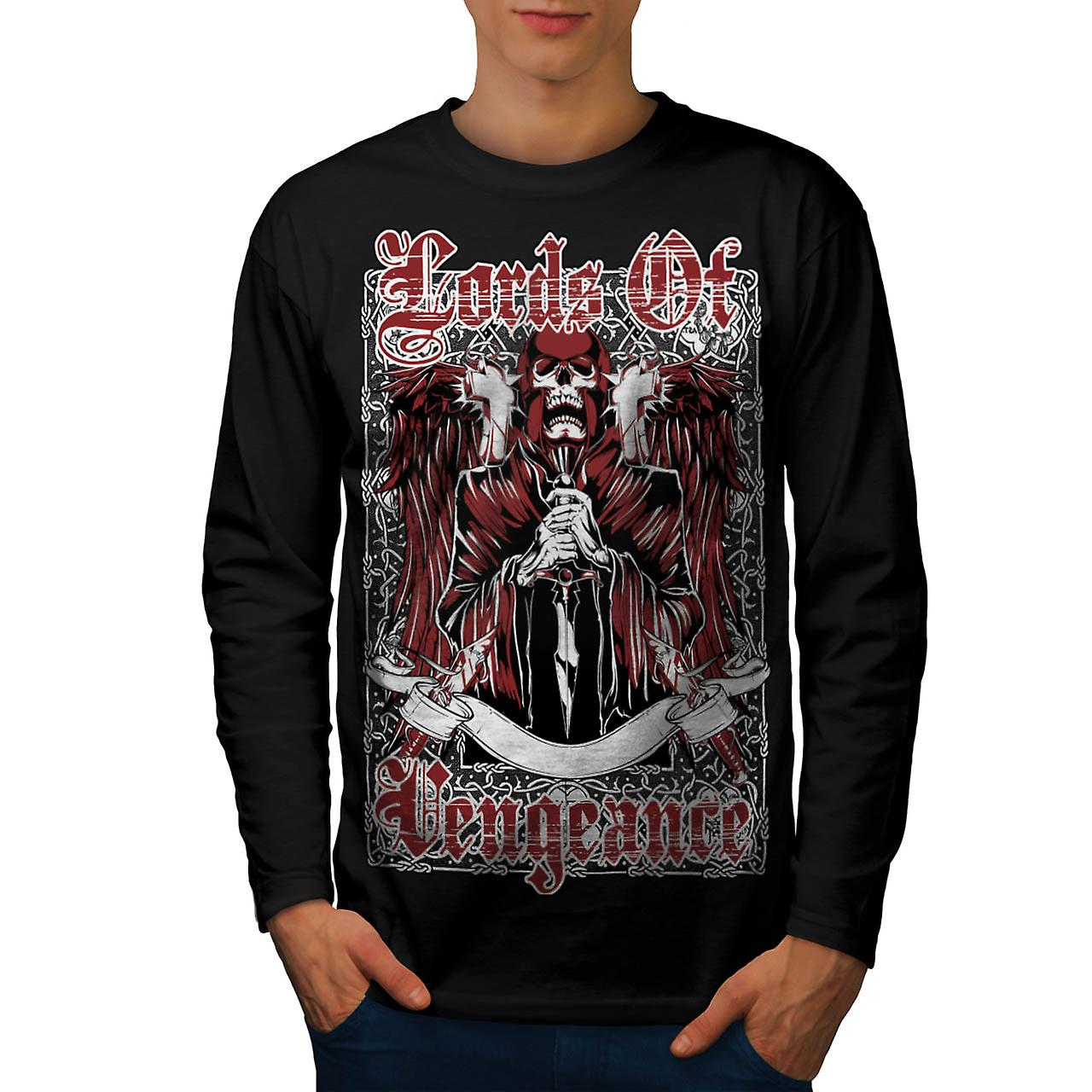Lords Of Vengeance Skull Men Black Long Sleeve T-shirt | Wellcoda