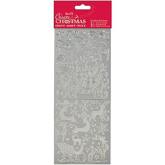 Papermania Create Christmas Outline Stickers-Silver Sleigh Ride PM810916