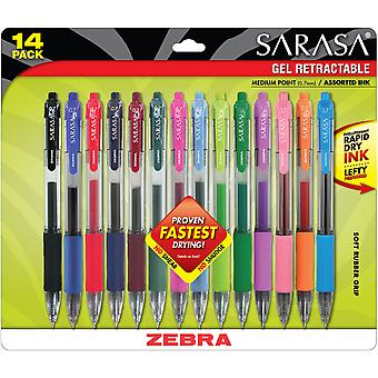 Sarasa Retractable RDI Gel Pen .7mm 14/Pkg-Assorted Z46824