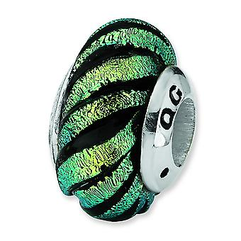 Sterling Silver Reflections Green Swirl Dichroic Glass Bead Charm