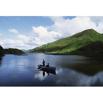 Kylemore Lake Co Galway Ireland People Fishing On A Lake PosterPrint