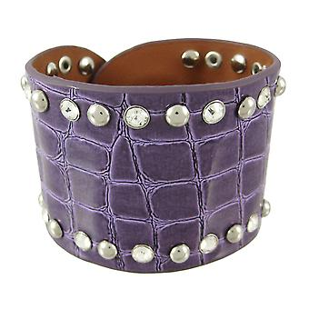 Glossy Purple Studded Rhinestone Mock Croc Wristband