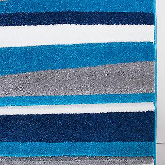 Navy  Teal Blue & Grey Striped Living Room Rug - Rio