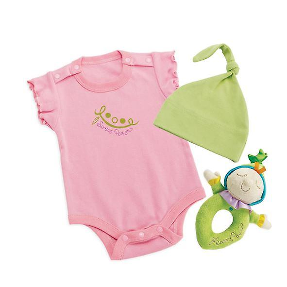 Snuggle Pods Sweet Pea Baby Gift Set suitable from Birth to 6 months Babygrow Rattle Hat