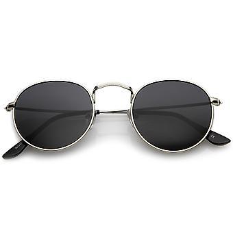 Classic Full Metal Frame Slim Temple Round Sunglasses 45mm