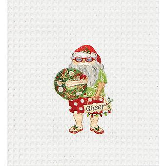 Beach Bum Santa Holding Holiday Cheer Wreath Kitchen Towel Waffle Weave 27 Inch