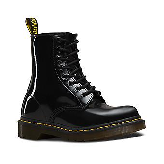 Dr. Martens 1460 Patent Womens Black Patent Leather Lace Up Boots Shoes