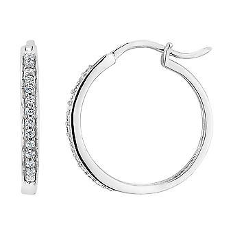 Diamond Hoop Earrings 1/5 Carat (ctw) in 10K White Gold (3/4 inch)