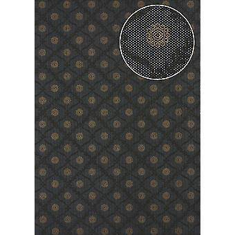 Baroque wallpaper Atlas PRI-550-5 non-woven wallpaper smooth with ornaments shimmering anthracite umbra grey perl gold dark grey 5.33 m2