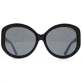 Kurt Geiger Metal Trim Glam Round Sunglasses In Black