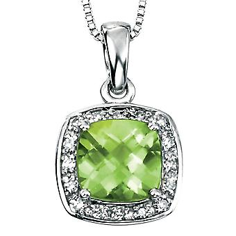 9Ct White Gold With Peridot And Diamond Necklace