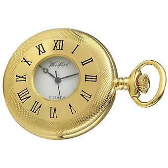 Woodford Gold Plated Engine Turned Half Hunter Mechanical Pocket Watch - Gold