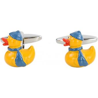 Zennor Winter Duck Cufflinks - Yellow/Blue