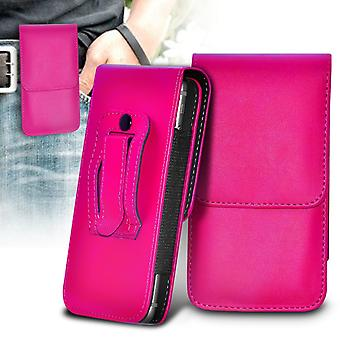 Samsung Galaxy A7 (2016) Vertical Faux Leather Belt Holster Pouch Cover Case (Hot Pink)