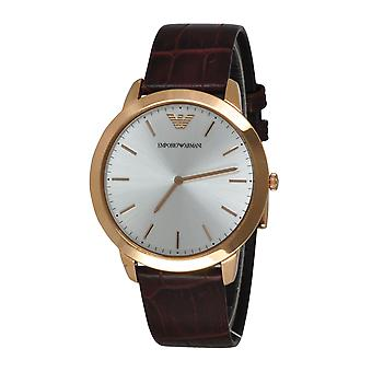Emporio Armani AR1743 Brown Leather Strap Silver & Gold Round Dial Watch