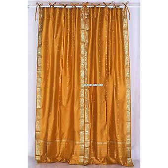 Mustard  Tie Top  Sheer Sari Curtain / Drape / Panel  - Pair