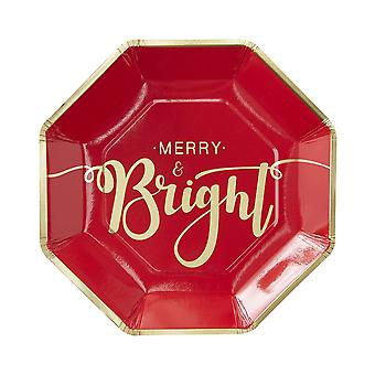 Gold Foiled Merry And Bright Paper Plates - Red & Gold