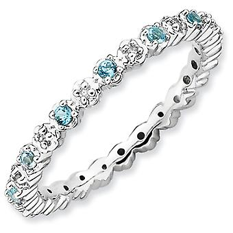 Sterling Silver Stackable Expressions Blue Topaz and Diamond Ring - Ring Size: 5 to 10