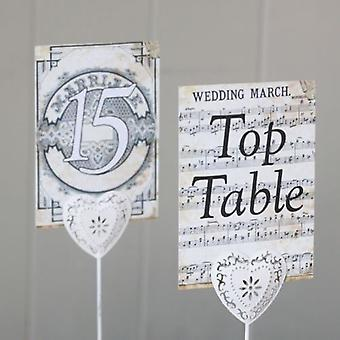 Vintage Wedding March Music Score Table Numbers Top Table 1 -15 Rustic Style
