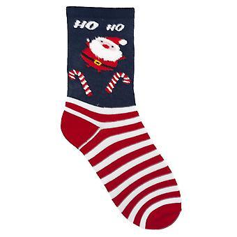 RJM Ladies Christmas Socks Blue Santa HOHO Size UK 4-7