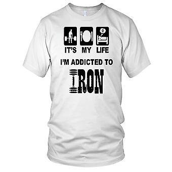 Zijn mijn leven Im Addicted To Iron Fitness Gym Training Bodybuilding dames T Shirt