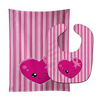 Breast Cancer Awareness Ribbon Heart Baby Bib & Burp Cloth