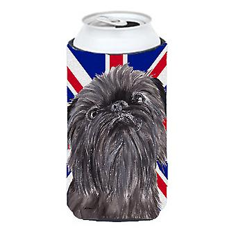 Brussels Griffon with Engish Union Jack British Flag Tall Boy Beverage Insulator