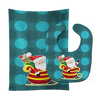 Christmas Santa Claus Sleigh Baby Bib & Burp Cloth