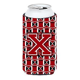 Letter X Football Red, Black and White Tall Boy Beverage Insulator Hugger