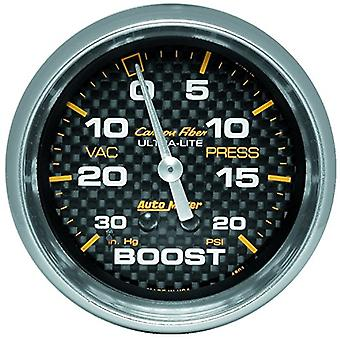 Auto Meter 4801 Carbon Fiber Mechanical Boost/Vacuum Gauge