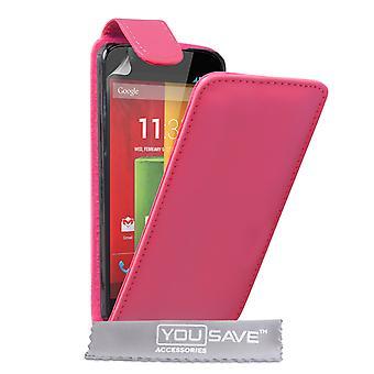 Motorola Moto G Leather-Effect Flip Case - Hot Pink