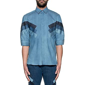 Neil Barrett men's BCM730CE139C33 Blau cotton shirt