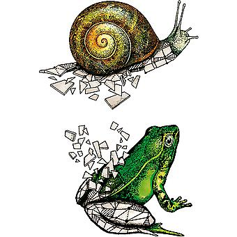 Carabelle Studio Cling Stamp A7-Snail & Frog Origami SA70142