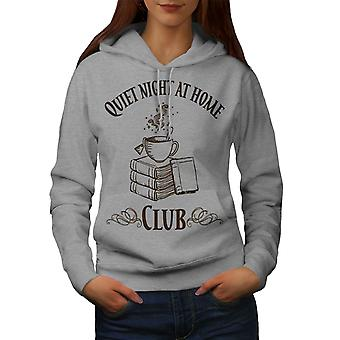 Coffee Reading Club Women GreyHoodie | Wellcoda