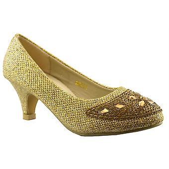 Infant Girls New Wedding Bridesmaid Evening Sparkly Party Courts Shoes